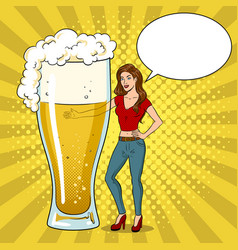 beauty young woman with beer pop art vector image