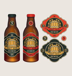Beer labels for two beer bottles vector