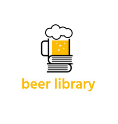beer mug with books library design template vector image
