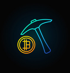 Blue pick axe with golden bitcoin icon vector