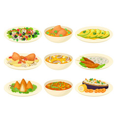 Brazilian dishes or main courses served on plates vector