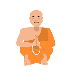 Buddhist monk meditating zen and enlightenment vector