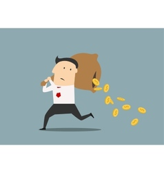 Businessman losing money from a bag vector image
