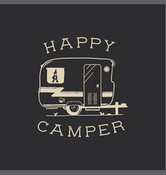Camping typography badge design vector