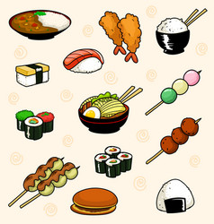Cartoon doodle traditional japanese food dish vector