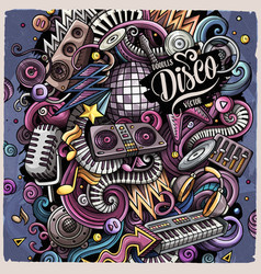 Cartoon doodles disco music vector