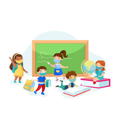 Children get education in school during covid19 vector