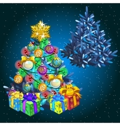 Christmas tree with gifts before holiday and after vector image