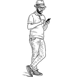 City dweller in a hat with a smartphone vector