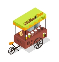 Coffee and Tea Trolley in Isometric Projection vector