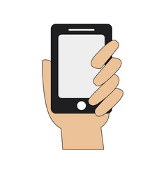 Color graphic hand holding up a smartphone vector