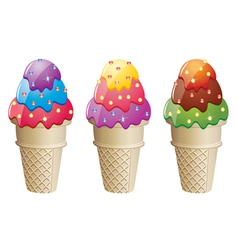 Colorful icecream cones vector