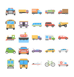 creative flat icons set of transport vector image