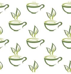 Cups of herbal tea seamless pattern vector