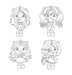 cute baby unicorns coloring page for girls vector image