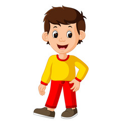 Cute boy cartoon good posing vector
