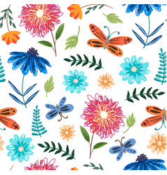 cute bright pattern with flowers and butterflies vector image