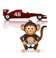 Cute chimpanzee formula driver sport little monkey vector