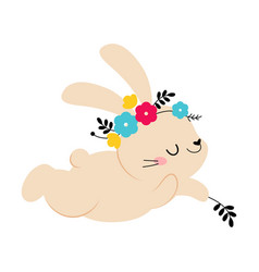 cute little bunny in wreath spring flowers vector image