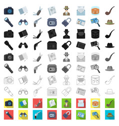 Detective and attributes cartoon icons in set vector