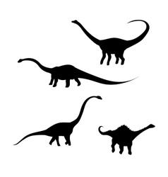 Diplodocus dinosaur silhouettes vector image