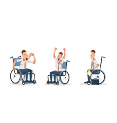 Disabled wheelchair coworker express emotion set vector