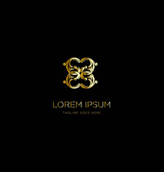 elegant and luxurious stylish gold frame logo vector image