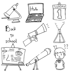 Element school doodle laptop paper vector