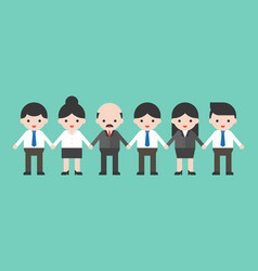 employees and employer holding hands business vector image