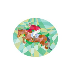 Equestrian Show Jumping Oval Low Polygon vector image vector image