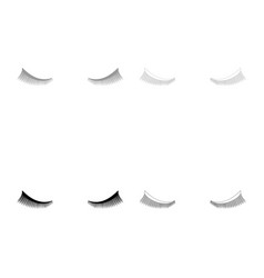 Eyelash icon set grey black color vector