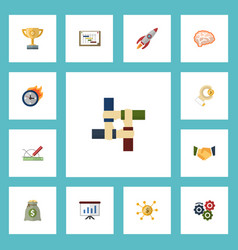 flat icons financing mind schedule and other vector image