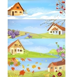 Four Seasons Year Landscapes vector
