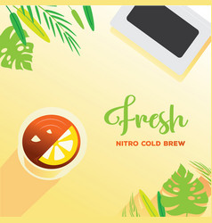 Fresh nitro cold brew background with laptop vector