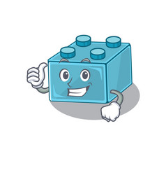 Funny lego brick toys making thumbs up gesture vector