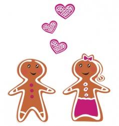 Gingerbread couple vector