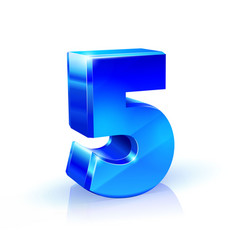 glossy blue five 5 number 3d on vector image