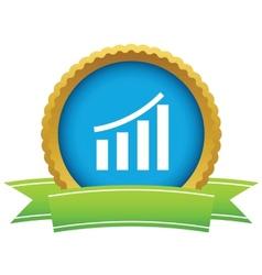 Gold growing graph logo vector