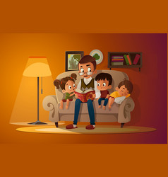 grandfather sitting with grandchildren on a cozy vector image