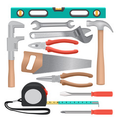 Hand tools mockup set realistic style vector