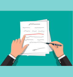 Hands author with pen working on document vector