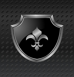 heraldic shield on metallic background - vector image
