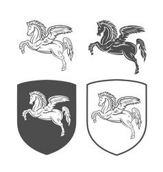 Heraldic shields with pegasus vector