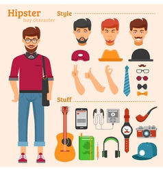 Hipster Boy Character Decorative Icons Set vector