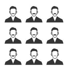 Hipster With Mustache Set on White Background vector image vector image