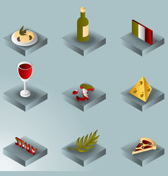 italy color gradient isometric icons vector image