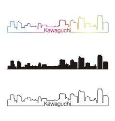 Kawaguchi skyline linear style with rainbow vector image