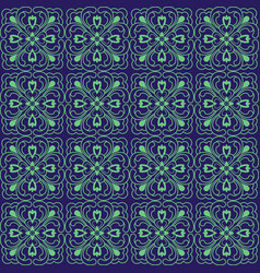 Korean traditional blue flower pattern background vector