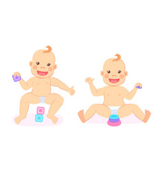Laughing twins or kids sitting newborn vector