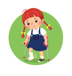 Little girl with broken leg bandage cast vector